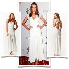Alessandra Ambrosio in Ale Vanity fair white dress  $235 - Stand Out in a White Dress from $84 USD  #fashion #celebs #celebfashion