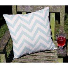 Duck Egg Zig Zag Cushion - Home Accessories by Lily & Moor. Visit www.lilyandmoor.co.uk for beautiful products and inspiration!