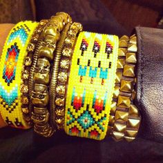 Tribal/Native American mixed with Antique Gold Colour Base Metal-and coloured CZ cheap,chic and cheerful.