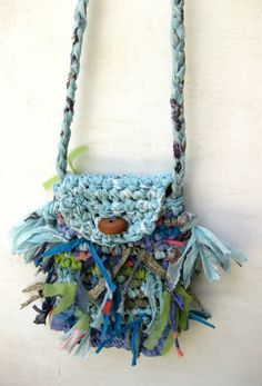 I'm in  love with this artist's work. Fairy Woodland Rag Handbag  Blue Green  Fabric Crocheted by odpaam, $32.00
