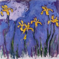 """Claude Monet, Yellow Irises with Pink Cloud, a surprising painting from Monet when an art lover is used to his series of """"Nenuphars"""""""