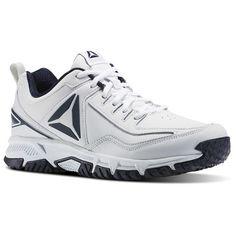 Reebok Shoes Men s Ridgerider Leather 4E in White Collegiate Navy Size 8.5  - Walking db73b1e60