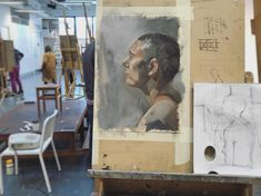 Oil sketch from life this morning #underpainting #oilpainting #sketch #portrait #profile #shavedhead #painting #art #artstudio #artprocess