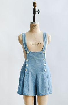 Spring Into June Overalls / vintage 1930s overalls / 30s 40s romper