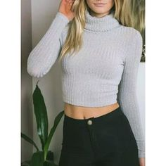 Light Gray High Neck Long Sleeve Knit Cropped Jumper ($35) ❤ liked on Polyvore featuring tops, sweaters, light grey sweater, cropped sweater, crop top, long sweaters and high neck sweater