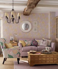 Charleston Grapes Pale Plum Wallpaper by Laura Ashley Pinterest Foto, Living Room Decor, Living Spaces, Style Anglais, Family Room, Home And Family, Laura Ashley Home, Ideas Hogar, Home And Deco