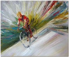 Cycling Race - Signed Hand Painted Bicycle Sport Abstract Oil Painting On Canvas #Abstract