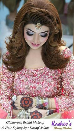 ideas for hair ombre asian eye makeup Pakistani Bridal Hairstyles, Pakistani Bridal Makeup, Bridal Eye Makeup, Hair Makeup, Weeding Makeup, Lehenga Hairstyles, Kashees Hairstyle, Bride Hairstyles, Cool Hairstyles
