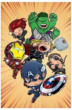 It's a picture of The Avengers. The piece was done by DeviantArtist Truxillogical, and it's called Lil' 'Vengers. ITS CHIBI AVENGERS ! Marvel Comics, Marvel Art, Marvel Heroes, Marvel Avengers, Avengers Cartoon, Baby Avengers, Comic Art, Comic Books Art, Chibi