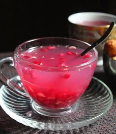 Keep yourself cozy with a cup of delightful hot tea! With flavors like rose milk and raspberry--you're sure to find a new favorite in these hot tea recipes! Yummy Drinks, Healthy Drinks, Hot Tea Recipes, Fruit Tea, Liqueur, Brunch, Tea Blends, Meals For One, High Tea
