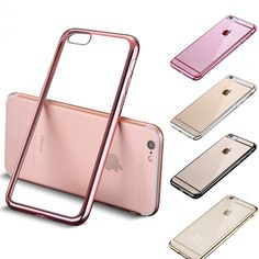 Luxury Plating Silicone Clear Transparent Phone Case For Apple iPhone 6 6S 7 / Plus 5 5S SE Noble TPU Ultra Slim soft Back Cover