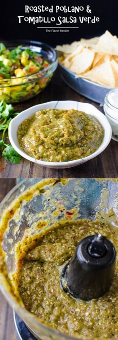 Roasted Poblano and Tomatillo Salsa Verde - So easy to make with big roasted flavors and perfect as a dip, on tacos and so much more! Tomatillo Salsa Verde, Salsa Picante, Tomatillo Recipes, Roasted Salsa Verde Recipe, Roasted Tomatillo, Casserole Recipes, Soup Recipes, Cooking Recipes, Sauces
