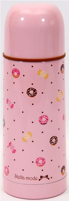 19.37 - cute Thermos bottle with donuts candy dots Japan 1