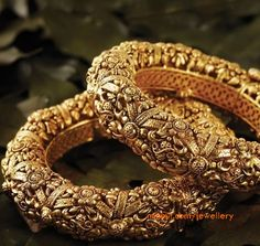 Antique gold bangles by Jaipur Gems. #Bridelan
