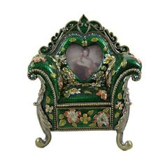 """Victorian Armchair Jewelry Trinket Box Picture Frame Bejeweled Floral Green by EchoMerx. $29.99. 3""""L x 2""""W x 3.75""""H. Generously large inside storage for rings or trinkets.. Jewelry trinket boxes are hand-painted and decorated painstakingly with sparkling crystals.. Comes in a deluxe satin lined gift box.. Boutique quality.. Beautiful green floral decorated chair couch adorned with enamel and Swarovski clear crystals on gold plated trim. Has a drawer that pulls out to house it..."""