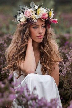 Don't know what to do with your long and voluminous hair for your upcoming nuptials? See our round-up of the best wedding hairstyles for long hair here. Bridal Hairdo, Wedding Updo, Wedding Bride, Big Barrel Curls, Flower Crown Bride, Flower Crowns, Wavy Ponytail, Wedding Hairstyles For Long Hair, Bridesmaid Hairstyles