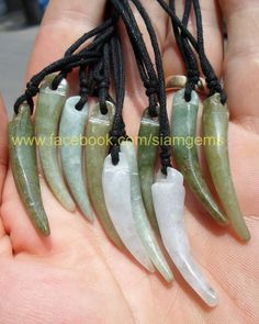 Himalayan Jadeite Jade Tooth Pendant Necklace Grounding Stone Protection 38x7mm #Siamgems