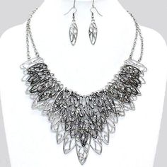 Leaf Filigree Metal Silver & Hematite Crystal Accent Statement Bib Necklace Set  #FashionJewelry