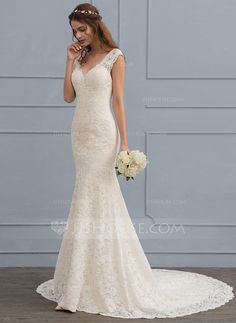 Trumpet/Mermaid V-neck Court Train Zipper Up Cap Straps Sleeveless Church Garden / Outdoor General Plus No Winter Spring Summer Fall Other Colors Lace Hight:5.6ft Bust:32in Waist:23in Hips:35in US 2 / UK 6 / EU 32 Wedding Dress