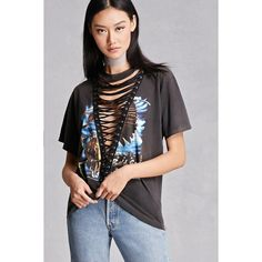 Forever21 Lace-Up Bald Eagle Graphic Tee ($58) ❤ liked on Polyvore featuring tops, t-shirts, black, crew neck t shirt, short sleeve t shirts, graphic t shirts, american t shirt and vintage t shirts