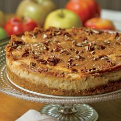 Apple Caramel Cheesecake..Combine delicious Fall flavors, Apple & Caramel, for a Seasonal twist on Creamy Cheesecake with this Award Winning Recipe!