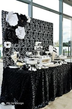 32 Ideas Wedding Backdrop Black And White Dessert Tables Black And White Party Decorations, Black White Parties, Black And White Theme, Black Party, White Gold, White Dessert Tables, White Desserts, Paris Bridal Shower, White Bridal Shower