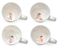 Peek-a-boo Pin Up Girl Mug Set - Clara, Kim, Sophia and Veronica! from Crumpet & Skirt | Made By Crumpet & Skirt | £36.99 | Bouf
