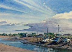 Low Tide at Rye : 35 x 48 cms, (Brian Robinson Watercolor)