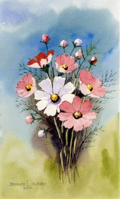 How to paint Cosmos Flowers. Free 2 Hour live recorded class replay. Learn various techniques and basics. watercolours, watercolors, paint, paper, water, art, lesson, video