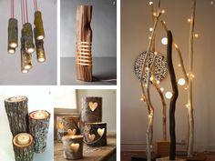 decoración con ramas y troncos