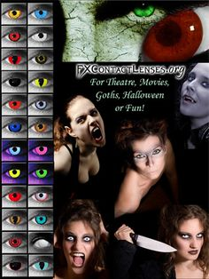 http://fxcontactlenses.org  Some of our most popular FX contact lenses.  Wear for Halloween.. to spice up any costume... for the stage... or behind the camera.  Click link above to check out our Werewolf, Vampire, Cat-Eye, Zombie, and other special effects contacts and make your costumes or make-up come to life.