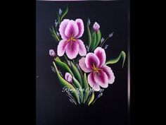 One Stroke White on Black Floral Composition - YouTube