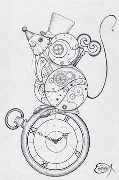 Steampunk Coloring Page. Steampunk Clockwork Mouse WIP by… Steampunk Drawing, Animal Drawings, Punk Art, Drawings, Manga Drawing, Art, Steampunk Coloring, Coloring Pages, Clockwork