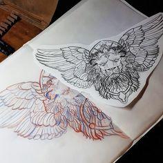 New project #lion #liontattoo #sketch #drawings #design #chestpiece #wings #wingedlion #stonelion #filligree #ornament #baroque #gothic #doorknocker #tattoo #tattooart #germantattooers #seba #tattooapprentice #sharkhuntertattoos