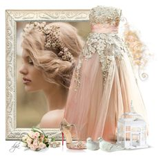 """Peach Wedding"" by dgia ❤ liked on Polyvore featuring Elie Saab and Christian Louboutin"