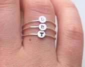 Set of Three Sterling Silver Custom Personalized Initial Rings