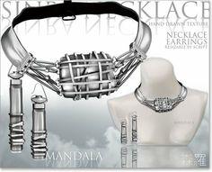 [MANDALA]SINRA Necklace&earrings/Wolf Silver