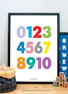 Moniväriset numerot. Colorfull numbers. Poster 50x70 cm, 28 €.