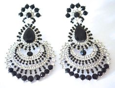 Silver tone chandelier earrings black crystal by BeautifulByBetter