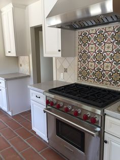 Mediterranean backsplash with lincoln tecate flooring
