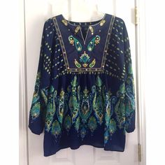 SPRING SALE!!  - Navy Top w/ Paisley Print Gorgeous navy top with a paisley print & embroidery/beading at neckline and chest area. Elastic at the end of sleeves. This is a PETITE X-LARGE tunic by Westbound Petites. 100% polyester. Only worn once!! Perfect top for spring and summer! NO Trades, NO PayPalBUNDLE AND SAVE!! Westbound Petites Tops Tunics