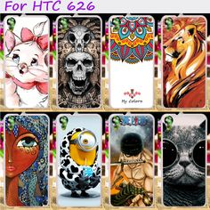 Hard Plastic&Soft TPU Phone Cover For HTC Desire 626 628 626w 626D 626G 626S Cases Cool Skull Cute Minions Flower Protective