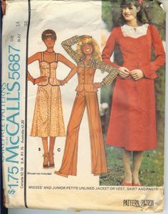 McCall's 5687; ©1977; Misses Unlined Jacket or Vest, Skirt and Pants. Buttoned, fitted jacket A or vest B, C have straps and peplum; jacket sleeves set into straps have gathered cap. Vest B has braid trim. Skirt and pants have side zipper. DellaJane