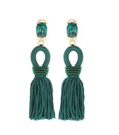 OSCAR DE LA RENTA - Tassel clip-on earrings - Oscar de la Renta opts for evening opulence with these intricately adorned tassel earrings. A statement addition that will add instant glamour to any outfit, this pair elegantly reflect the light for a bit of sparkle. For maximum impact, keep hair slicked back to show off the delicate beading. - @ www.mytheresa.com