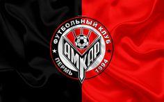 Download wallpapers FC Amkar Perm, 4k, Russian football club, Amkar logo, emblem, Russian football championship, Premier League, Perm, Russian Federation, silk flag