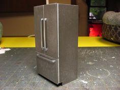 Dollhouse Miniature Furniture - Tutorials | 1 inch mini modern fridge.