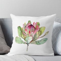 Super soft and durable spun polyester Throw pillow with double-sided print. Cover and filled options. Watercolor Botanical Art of Protea Flower. Beautiful Bright Colors - Perfect Gift fro Her! Protea Art, Protea Flower, Flower Pillow, Fabric Painting, Watercolour Painting, Designer Throw Pillows, Botanical Art, Pillow Design, Watercolor Flowers