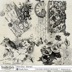 Olden Days - Stamps in png format, perfect for digital mixed media art, art journaling, and other artsy projects