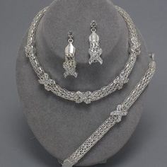 Chunky Silver Crystal X 3 Piece Statement Necklace Bracelet And Earring Set  55%OFF at TheJewelryBox