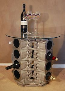 V8 engine block coffee table made from the engine of a for Engine parts furniture